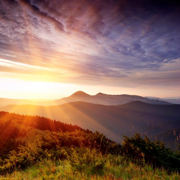 Фотообои пейзаж горы с красивым закатом (nature-00174)