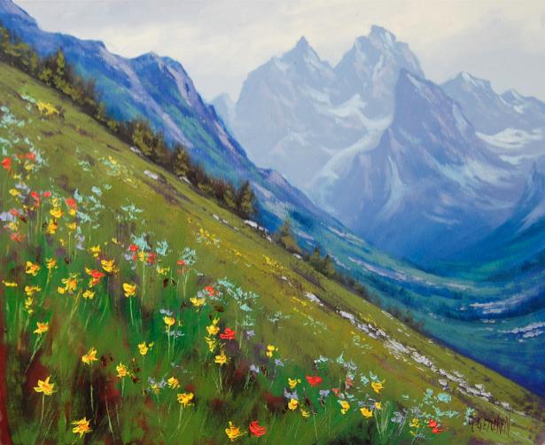 Фотообои рисованные горы поле цветов (nature-00432)