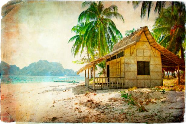 Фотообои пальмы природа и море (retro-vintage-0000111)