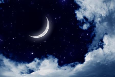 Фотообои месяц в ночном небе (sky-0000133)