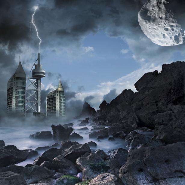 Фотообои фантастический город на берегу (space-0000045)
