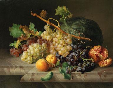 Фотообои Натюрморт  с гранатом, виноградом и дыней (still-life-0092)