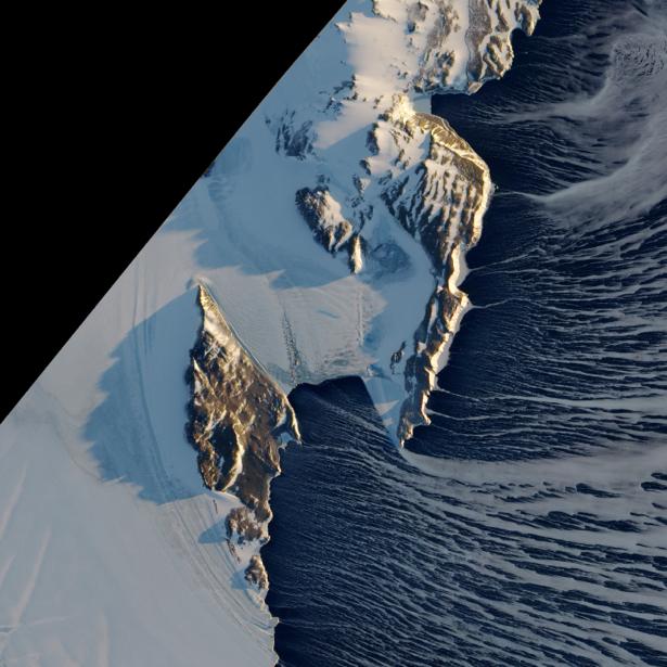 Фотообои NASA горы снег (terra-00256)