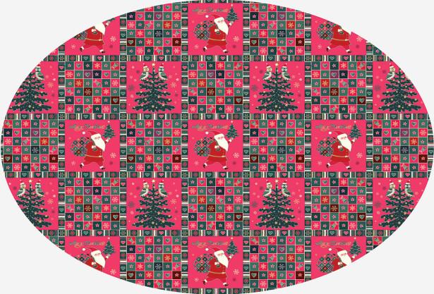 Скатерть овальная Санта-Клаус и елочка (204-2)