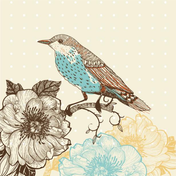 Фотообои рисованная птица бежевая (animals-0000396)