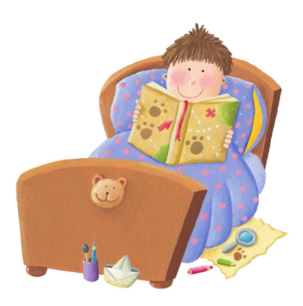 Фотообои Мальчик перед сном читает (children-0000313)
