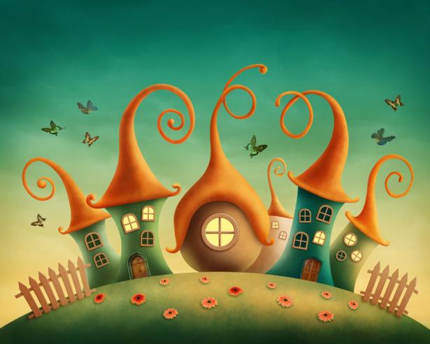 Фото обои детские сказочный домик (children-0000390)
