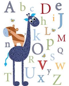 Детские фотообои жираф и алфавит (children-0000400)