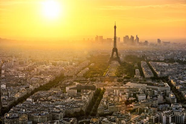 Фотообои Париж панорама на закате (city-0001278)