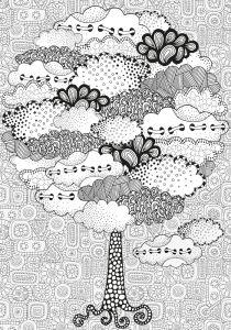 Обои раскраска Сказочное дерево (color-24)