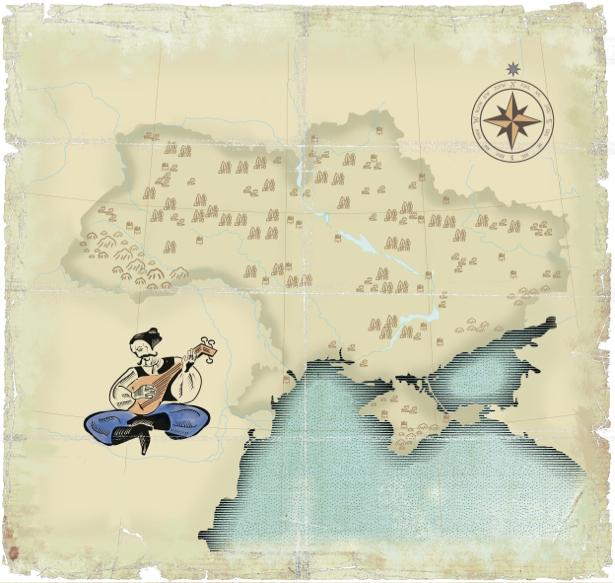 Фотообои старая карта Украины (map-0000196)