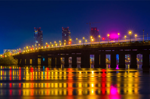 Фотообои Киев Мост Патона ночью (ukr-33)
