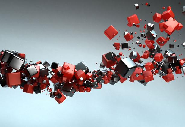 Фотообои черные и красные кубы (3d16)