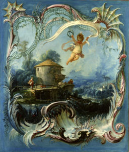 Фреска картина обои Буше амур (angel-00041)