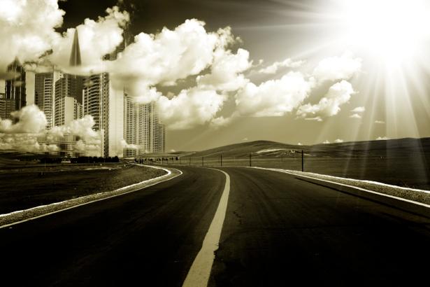 Фотообои Ночной мегаполис, мост, дорога (city-0000080)