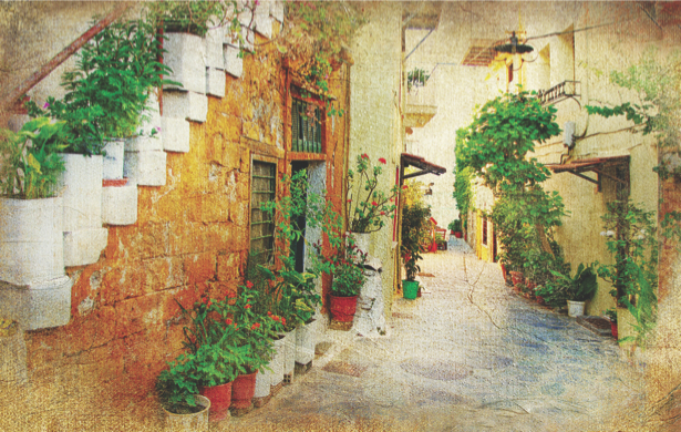 Фотообои Итальянский дворик и улочка (city-0000523)