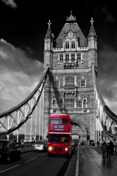 Фотообои Англия, Европа, автобус, Тауэрский мост (city-0000587)