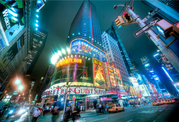 Фотообои Нью-Йорк Америка ночная улица (city-0000599)