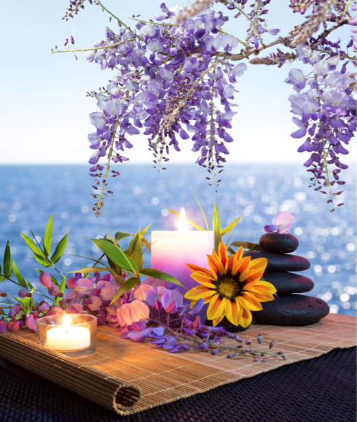 Фотообои в зал спа камешки цветы (flowers-0000533)