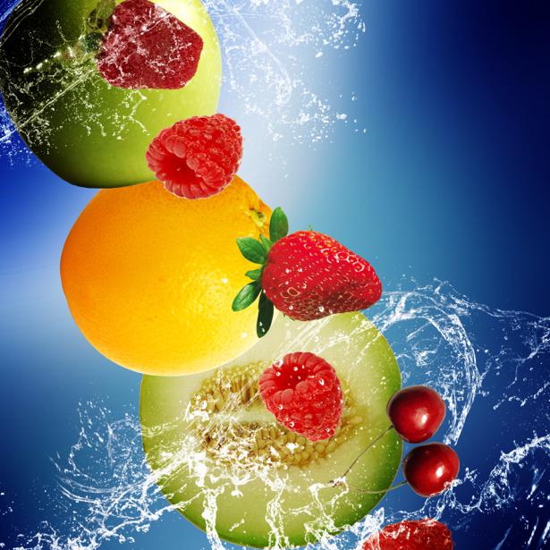 Фотообои на кухне фрукты в брызгах (food-0000244)