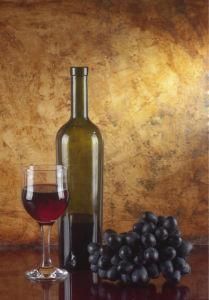 Фотообои сервировка бокал вина виноград (still-life-0023)