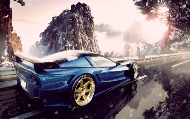 Фотообои corvette на трассе (transport-0000120)