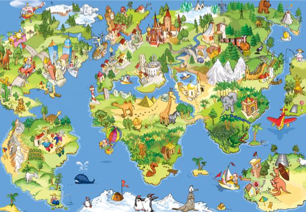 Детские фотообои детская карта мира (children-0000203)