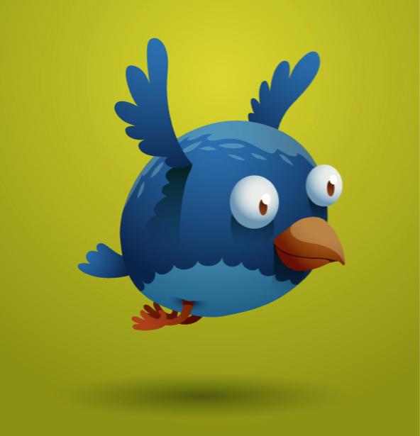 Птица синяя фотообои детские (children-0000274)