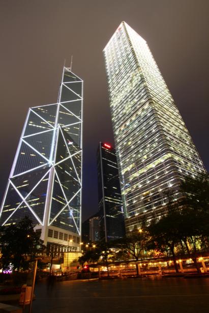 Фотообои ночной город, здания, мегаполис, ночь, огни (city-0000199)