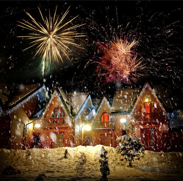 Фотообои рождество домики, огни (city-0000691)