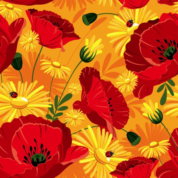 Цветочные фото обои паттерн маки (flowers-0000716)