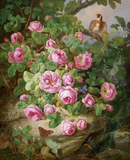 Картина куст роз возле ручья (pf-137)