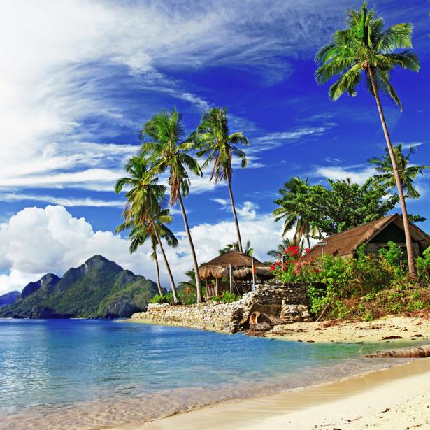 Фотообои морской берег и бунгало (sea-0000320)