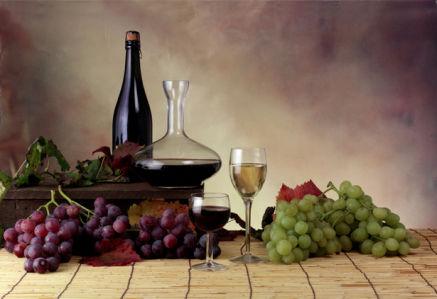 Фотообои натюрморт виноград с вином (still-life-0041)