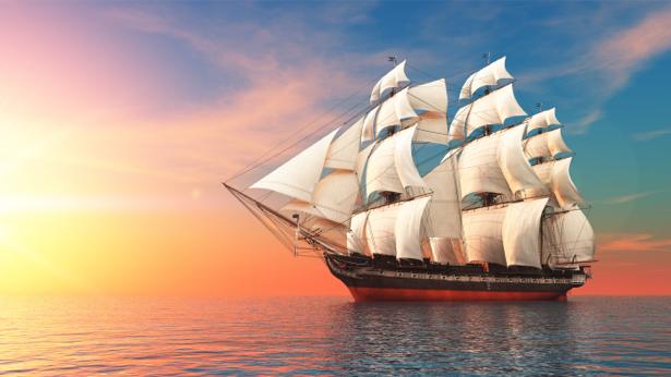 Фотообои парусный корабль в море на закате (transport-0000194)