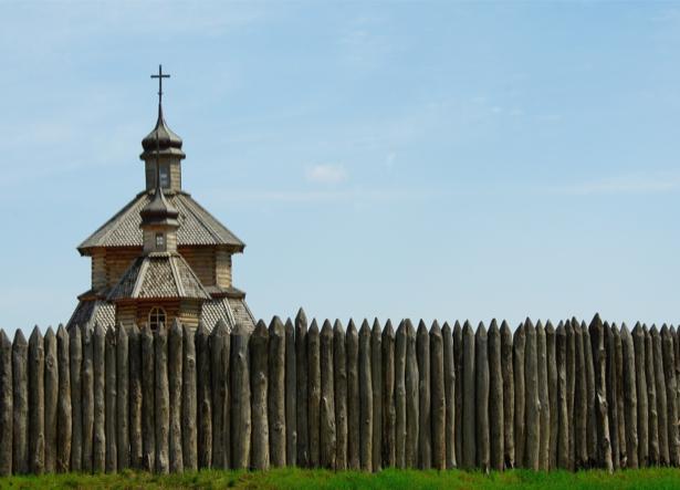 Фотообои Запорожье частокол храм (ukraine-0262)