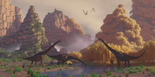 Фотообои Динозавры на водопое (child-483)