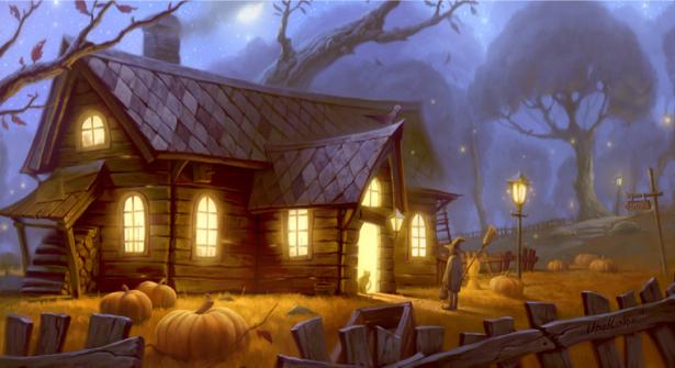 Фотообои сказочный домик Хеллоуин (children-0000062)