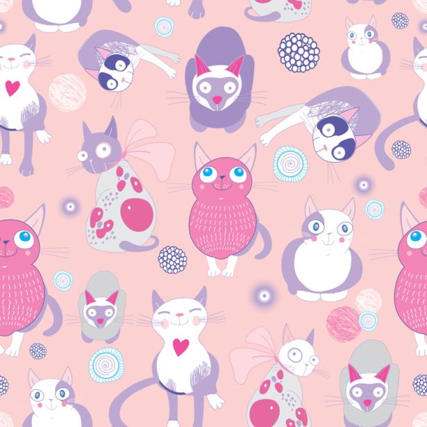 Фотошторы розовые кошки (children-curtain-00006)