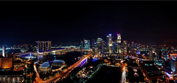 Фотообои Сингапур, ночной город, небоскребы (city-0000057)
