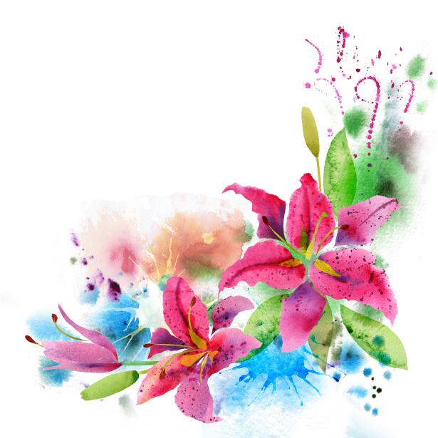 Цветочные фото обои Акварельные цветы (flowers-0000704)
