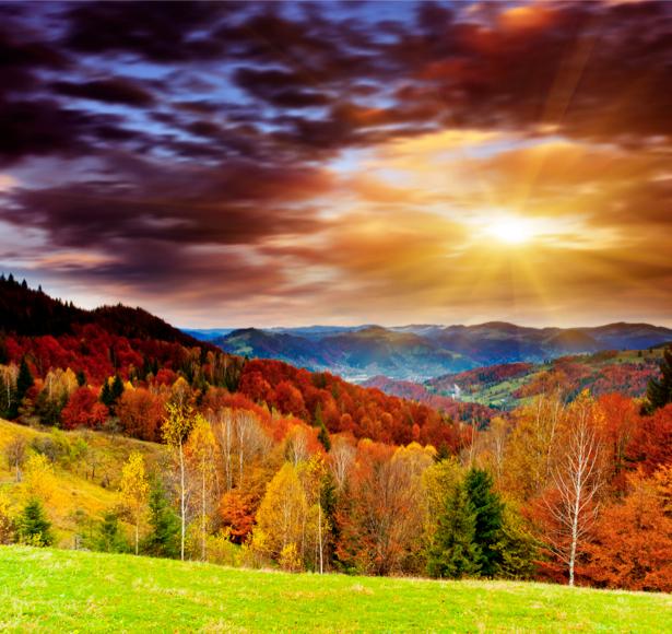 Фотообои горы закат фото пейзаж (nature-00429)