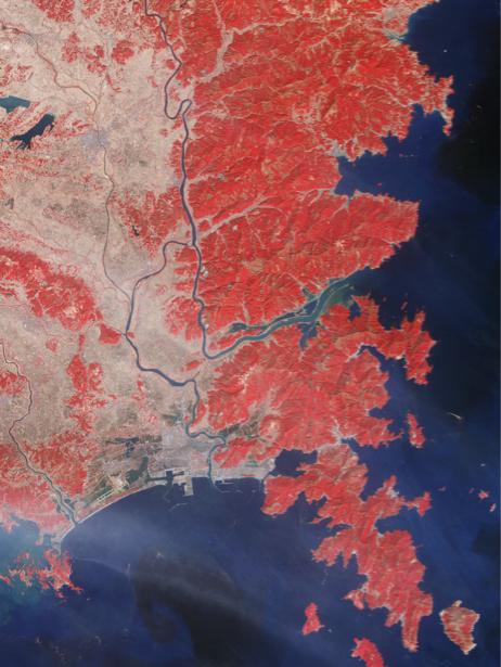 Фотообои 3д синее море красные горы (terra-00047)