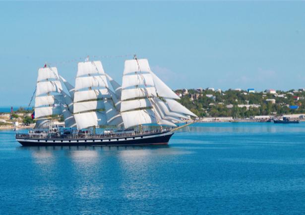 Фотообои парусник в заливе (transport-0000068)