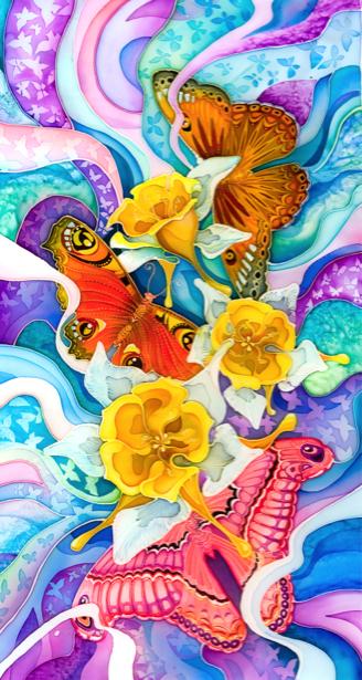 Фотообои бабочки и цветы рисованные (background-0000103)
