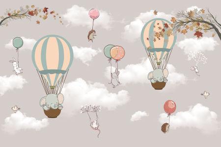 Фотообои Зверушки на воздушных шариках (child-581)