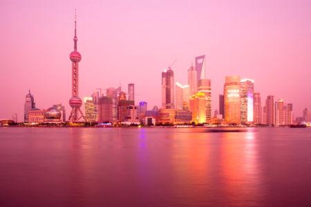 Фотообои вечерний город на воде, закат, небоскребы (city-0000010)