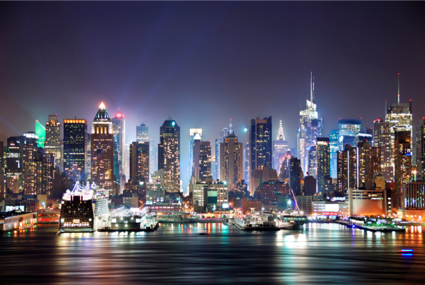 Фотообои панорама ночной Манхеттен (city-0000246)
