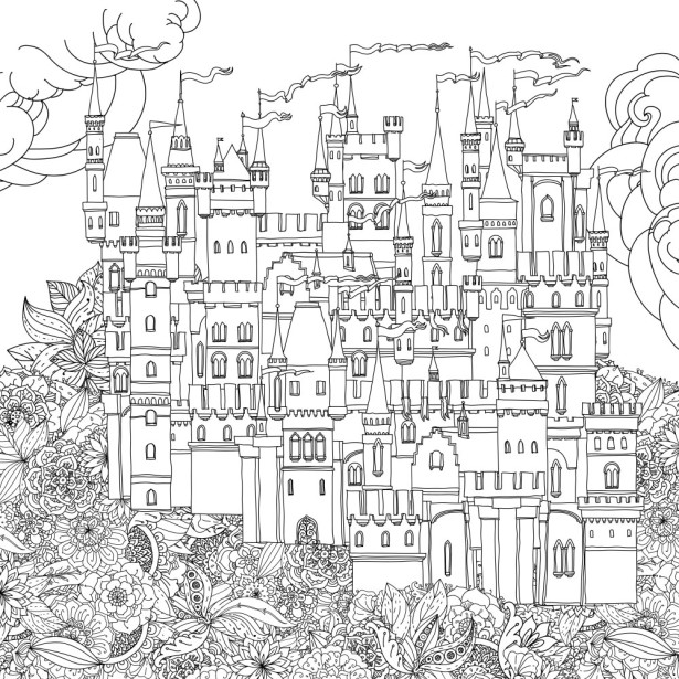 Обои раскраска Сказочный замок (color-20)