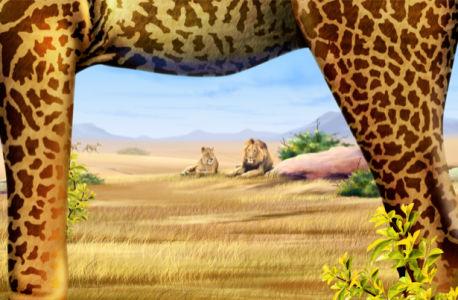 Фотообои львы и ноги жирафа (fantasy-0000006)